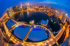 Singapore city skyline at sunset. Fish-eye view of Singapore city skyline at sunset Stock Images