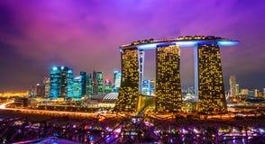 Singapore city skyline at sunset. Royalty Free Stock Images