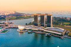 Singapore city skyline at sunset. Fish-eye view of Singapore city skyline at sunset Stock Photos