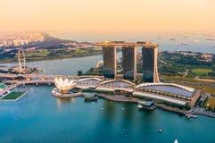 Singapore city skyline at sunset. Stock Photos