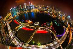 Singapore city skyline at sunset. Fish-eye view of Singapore city skyline at sunset Stock Photo