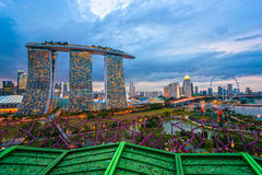 Singapore city skyline at sunset. Stock Photos