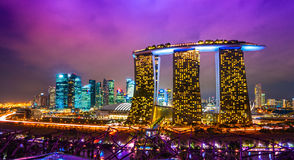 Singapore city skyline at sunset. Stock Photo