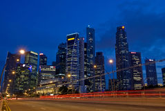 Singapore City Skyline Traffic. View of Singapore central business district at Evening Royalty Free Stock Photography