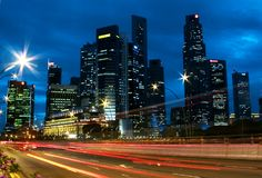 Singapore City Skyline Traffic. View of Singapore business district from Esplanade bridge Stock Images