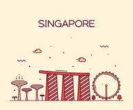Singapore City skyline Trendy vector line art Royalty Free Stock Image
