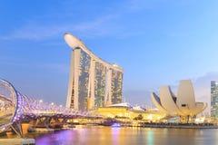 Singapore city skyline at twilight. Stock Photo