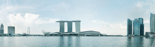Singapore city skyline under blue sky in Marina Bay Stock Photos