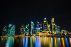Singapore city skyline view of business district in the night ti Royalty Free Stock Images
