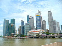 Singapore City Skyline. A view if Singapore city skyline during the day from the harbour area Stock Photos