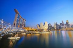 Singapore skyline. And view of Marina Bay Royalty Free Stock Images