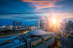 Singapore city with sunrise by day to night photo. From room in Hotel in Singapore Stock Photos