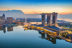 Singapore city sunrise. Singapore city at Marina Bay when sunrise Stock Photography