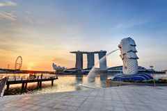 Singapore Merlion when sunrise Stock Photo