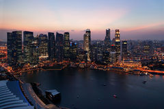 Singapore city at sunset. Skyline at night. Panorama view. Stock Image