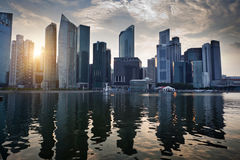 Singapore city. In sunset time Stock Images