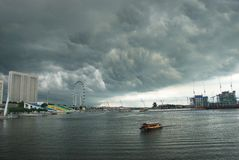 Singapore city under clouds Royalty Free Stock Photos