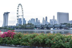 Singapore city view in the evening. Singapore city, Singapore - September 22, 2016: Singapore city view in the evening taken from Garden by the Bay stock image