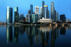 Singapore Cityscape. Cityscape of Singapore business district with clear blue skyline royalty free stock images