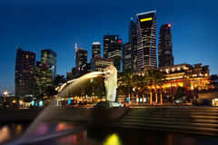 Singapore Cityscape. Cityscape of Singapore business district with Merlion statue