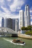 Singapore cityscape. View of Singapore financial district with Singapore River in the foreground Royalty Free Stock Image