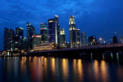 Singapore Cityscape at blue hour Stock Photos