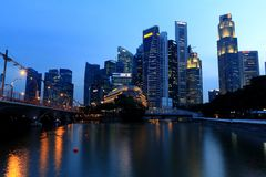 Singapore Cityscape at blue hour Royalty Free Stock Images