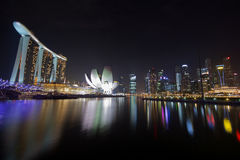 Singapore cityscape in dark Royalty Free Stock Images