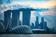 Singapore cityscape at dusk. Landscape of Singapore business mod royalty free stock images