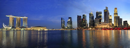 Singapore Cityscape from the Esplanade Panorama. Singapore Skyline from Marina Bay  Esplanade at Night Panorama Royalty Free Stock Photos