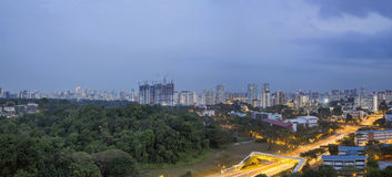 Singapore Cityscape at Evening Blue Hour Royalty Free Stock Photography
