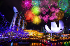 Singapore cityscape and firework at night in Singapore. Royalty Free Stock Photo