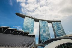 Singapore cityscape i dag Myra?gonsikt arkivbilder