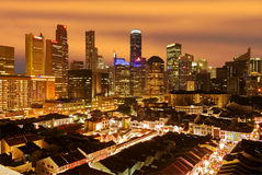 Singapore cityscape at night. Singapore cityscape and chinatown shophouse at night Royalty Free Stock Images