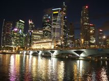 Singapore Cityscape by Night Royalty Free Stock Image