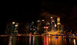 Gorgeous Singapore cityscape at night Royalty Free Stock Photos