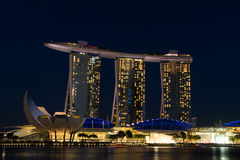 Singapore cityscape at night with blue sky Royalty Free Stock Photos