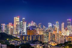 Singapore cityscape at night and business downtown, Night scene Royalty Free Stock Images