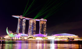 Singapore cityscape at night with laser show Royalty Free Stock Photography