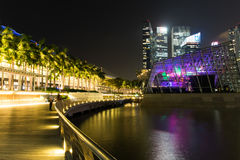 Singapore cityscape at night with laser show Stock Image