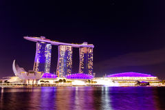 Singapore cityscape at night Marina Bay Sand Stock Image