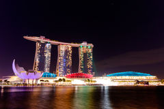 Singapore cityscape at night Marina Bay Sand Royalty Free Stock Photo