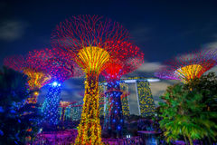 Singapore cityscape at night in Singapore. Royalty Free Stock Photos