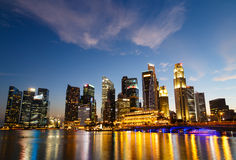Singapore Cityscape at night , Singapore - 17 January 2015 Royalty Free Stock Photography