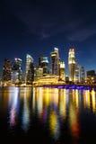 Singapore Cityscape at night , Singapore - 17 January 2015 Royalty Free Stock Photos