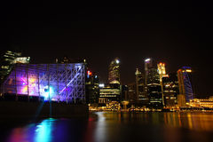 Singapore Cityscape at night , Singapore - 30 July  2011 Royalty Free Stock Photography