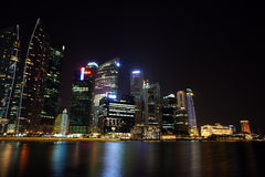 Singapore Cityscape at night , Singapore - 30 July  2011 Royalty Free Stock Images