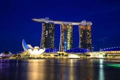 Singapore Cityscape at night , Singapore - 13 September  2014 Stock Photos
