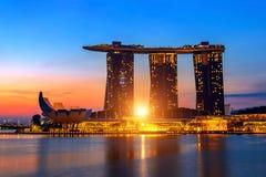 Singapore cityscape på soluppgång i Singapore Royaltyfria Bilder