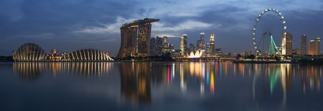 Singapore Cityscape Panorama. Panorama view of Singapore cityscape in Marina Bay. Photo was taken on 29 November 2012 Royalty Free Stock Images